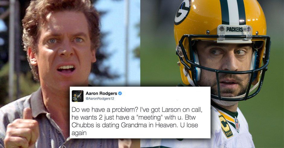 Aaron Rodgers Got Into A Legendary Happy Gilmore Twitter Fight With Shooter Mcgavin Dorkly Lol Gilmore Aaron Rodgers College Humor