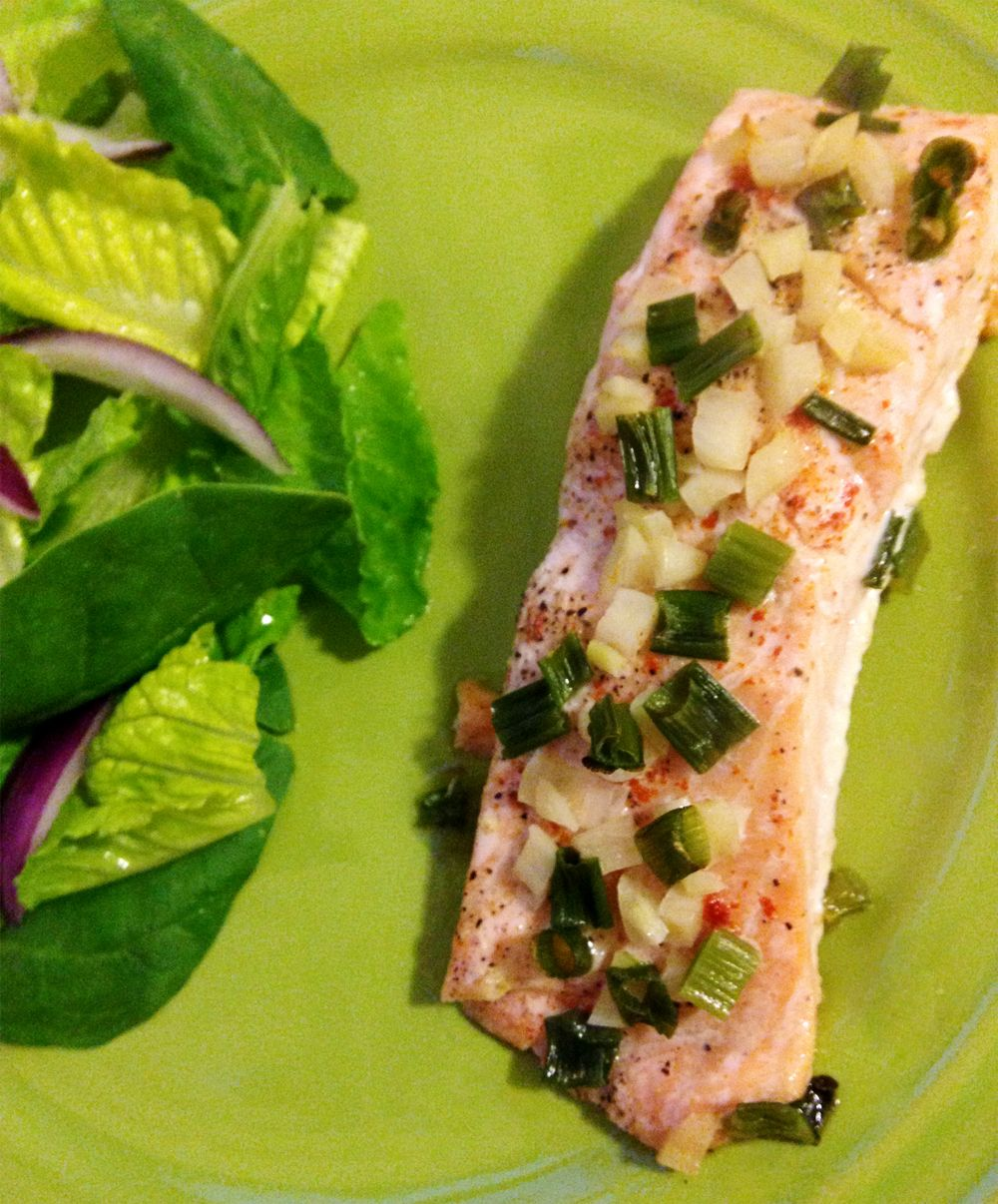 #Candida Friendly Baked Garlic And Onion Salmon Recipe