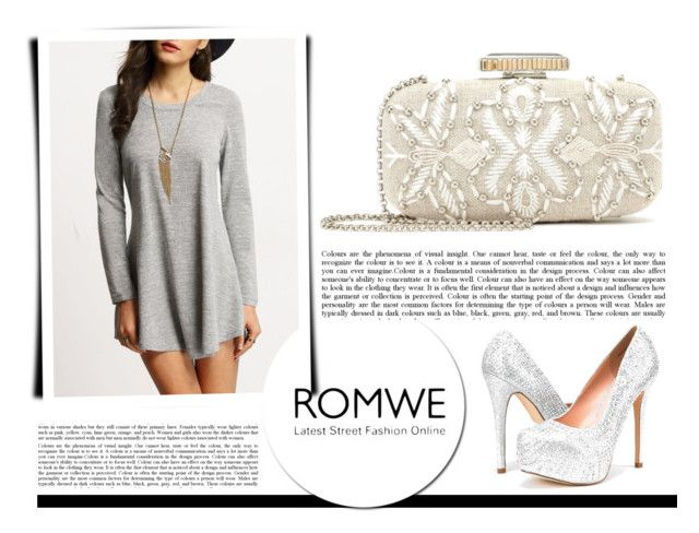 """Grey dress and silver shoes"" by irma-10 ❤ liked on Polyvore featuring Oscar de la Renta"