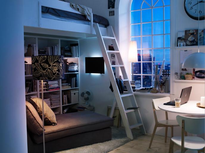 Nyc Apt Ikea Small Bedroom Loft Interieur Studentenkamer