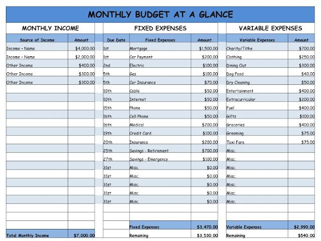monthly budget easy worksheet for the home pinterest