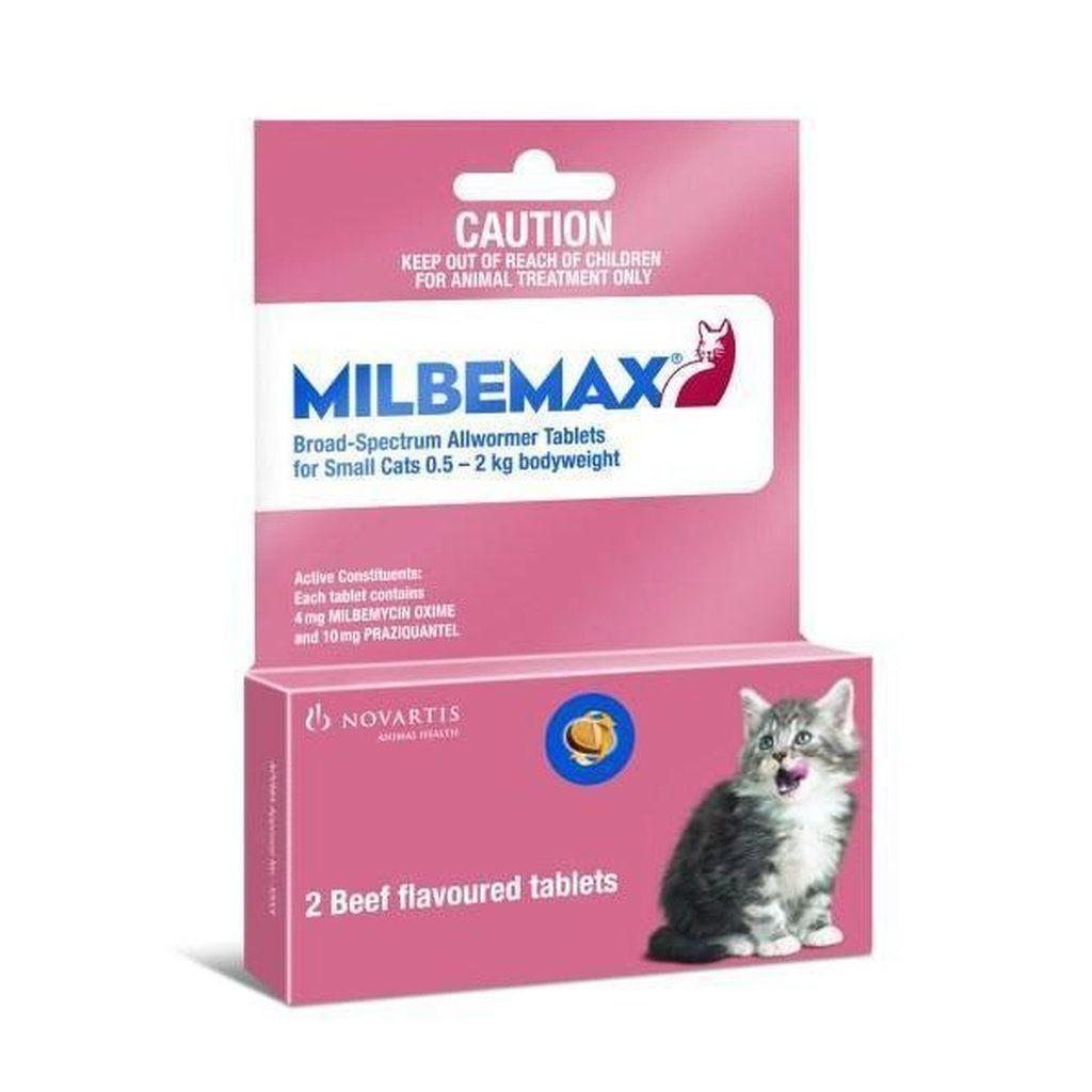 Milbemax Wormer Cats Under 4 4lbs 2kg 2 Tablets Cat Fleas Small Cat Cats