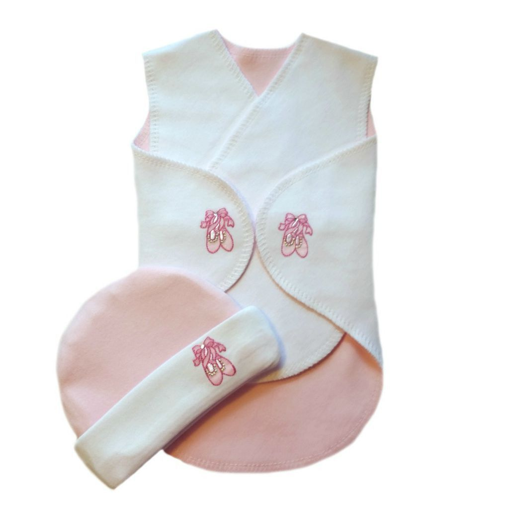 Baby Girls Ballet Shoes Preemie Snuggler Wrap Set Soft 100 Cotton