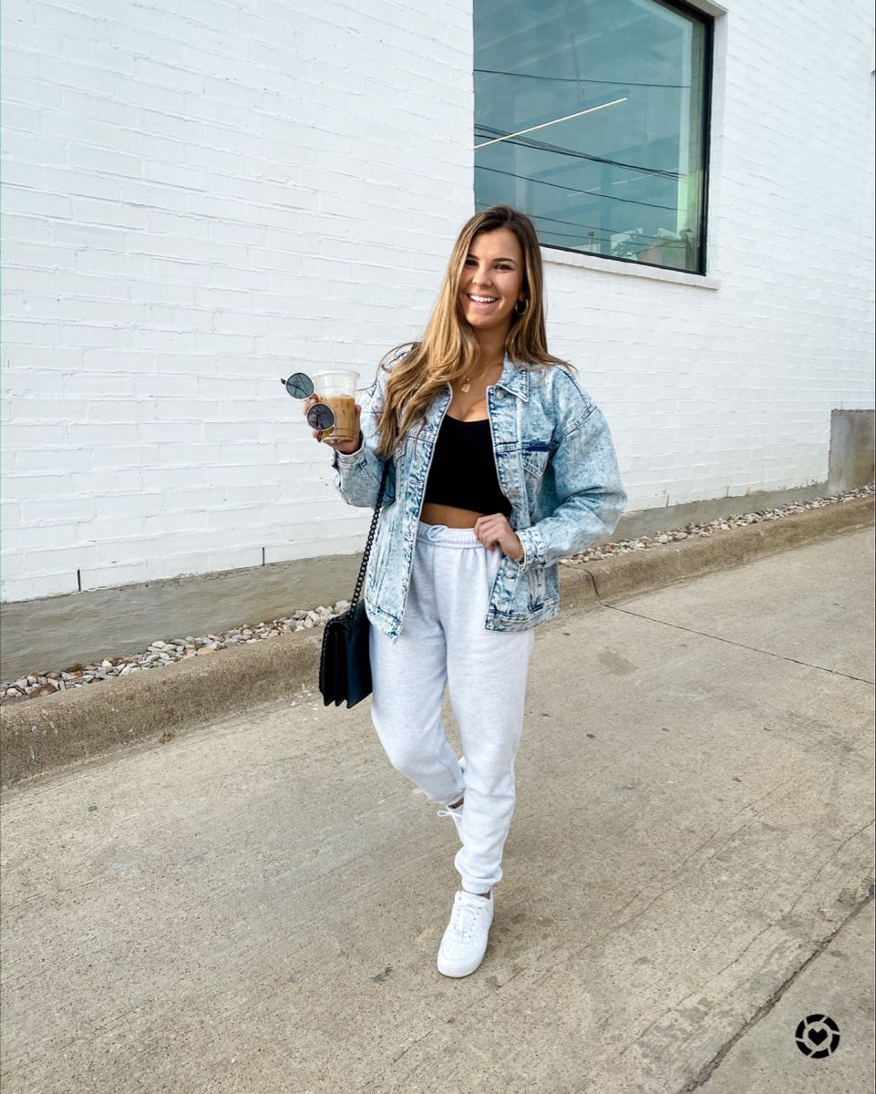 Liketoknow It Cute Sweatpants Outfit Denim Jacket Outfit Jean Jacket Outfits [ 1200 x 961 Pixel ]