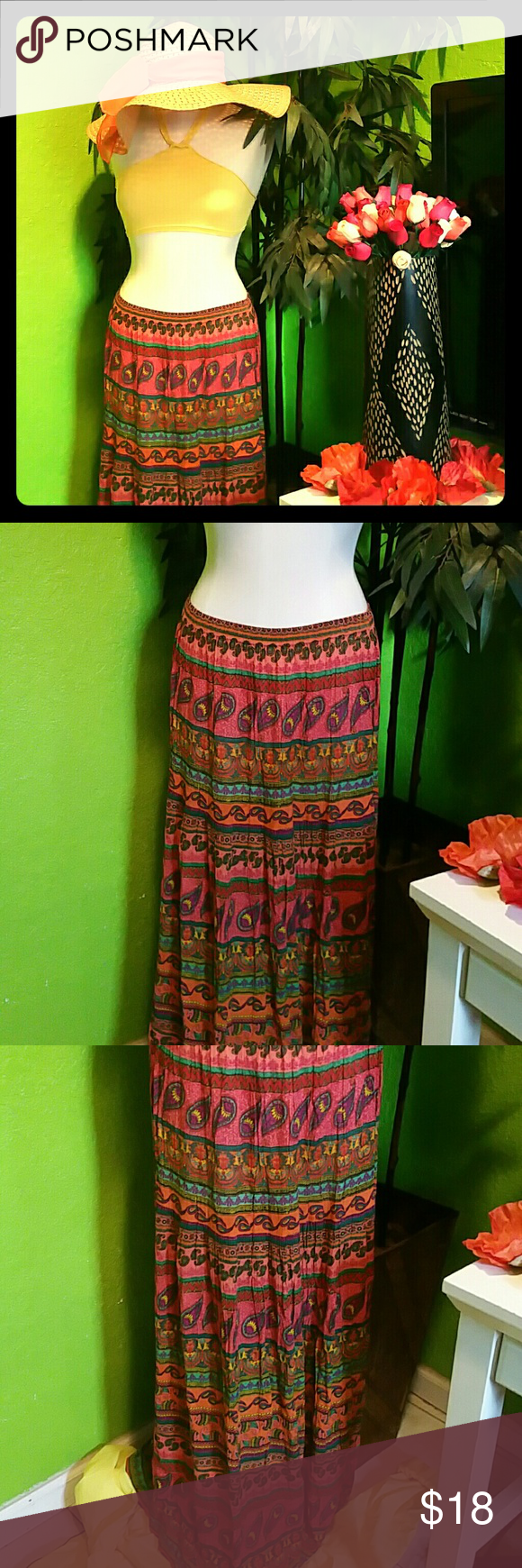 """Awesome Boho Look / Colorful Paisley Print Skirt S This beautiful maxi skirt can be worn to fit at the waist or a little below the waist....The striking colors & paisley print combination, brings this skirt to life!!!! This was purchased from Macys Junior Department..... 100% Rayon Shirred waistband with elastic. Length- 39""""  Hat & Top not included.. Planet Gold Skirts Maxi"""