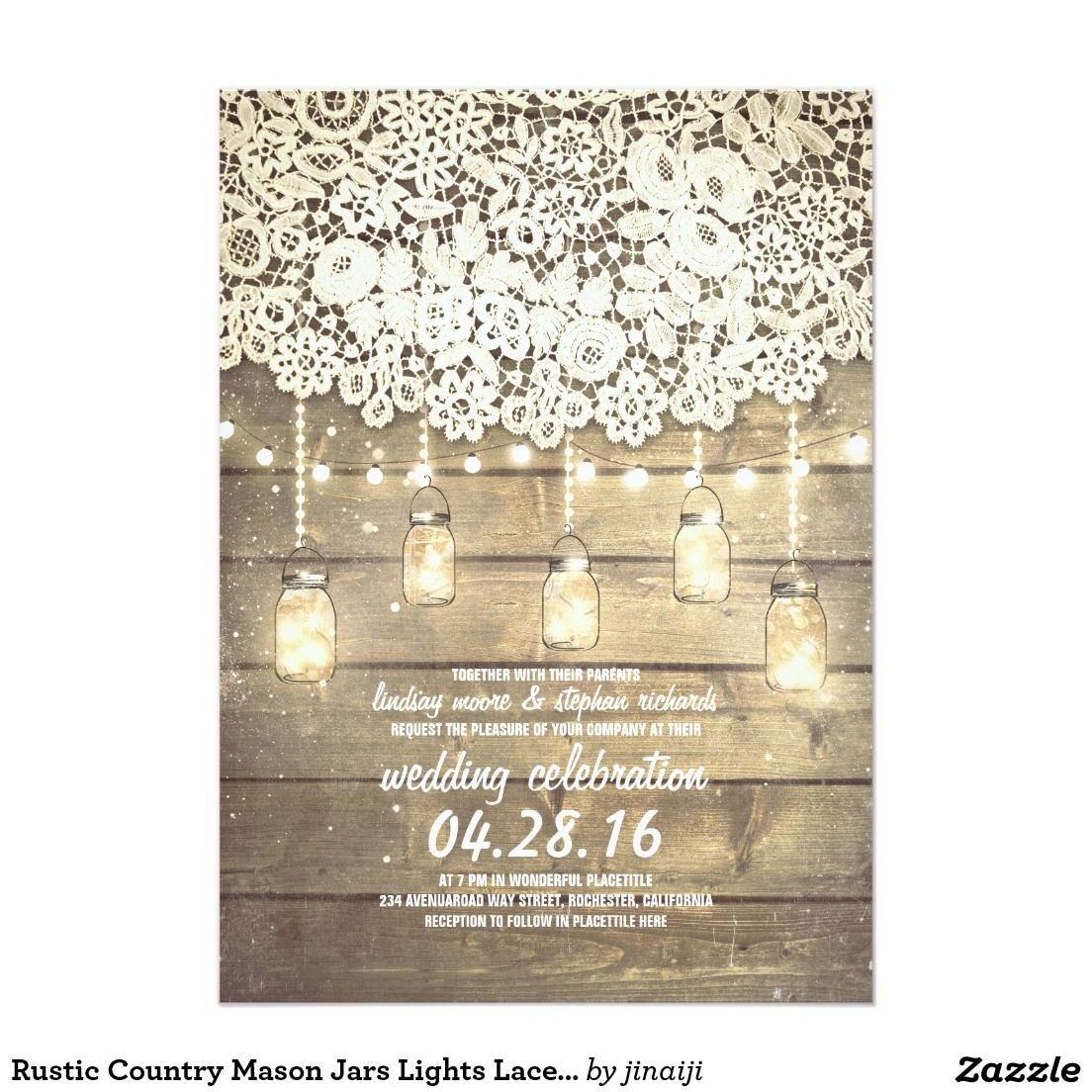 Rustic Country Mason Jars Lights Lace Wood Wedding Card Mason Jar