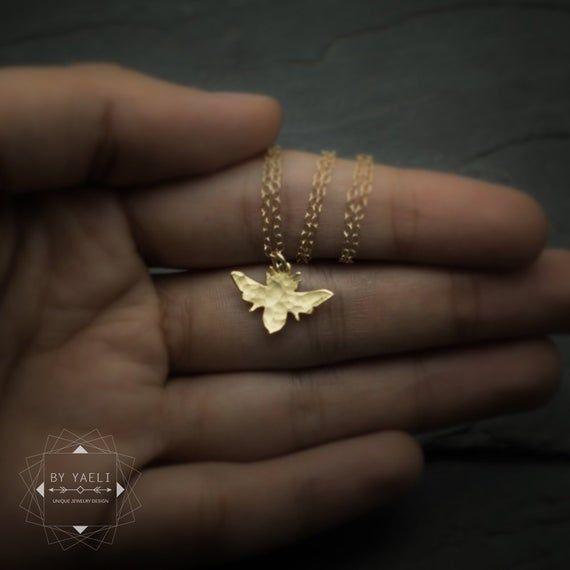 Photo of Minimalist Honey bee necklace, dainty gold bee pendant.