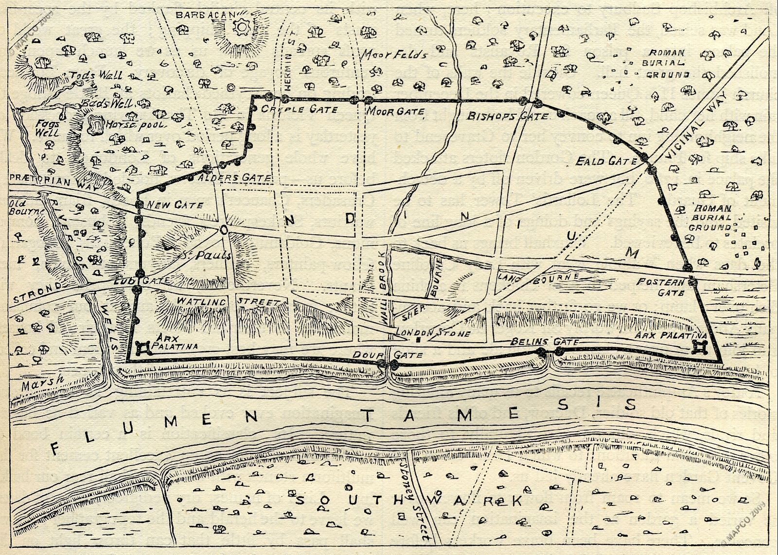 Plan Of Roman London After Ad190 Quot Old And New London A
