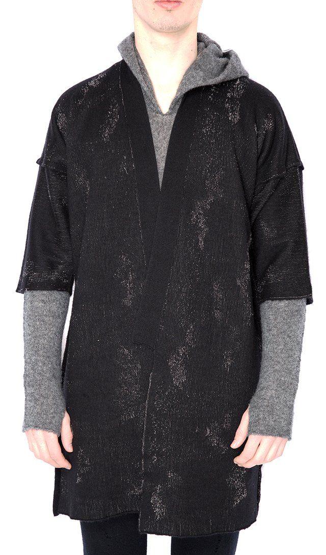 Label Under Construction Embroidery Seam Kimono   Sweaters