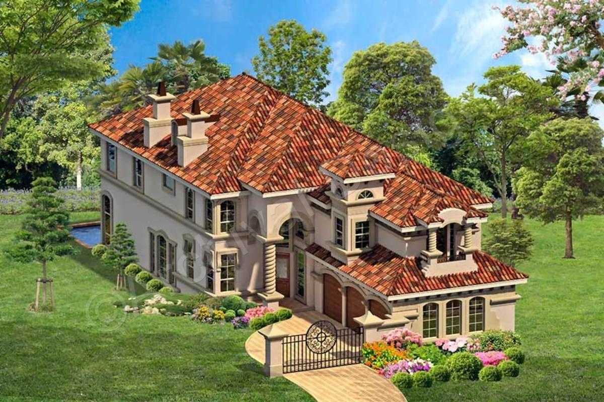 Rhodes Ranch Deux House Plan Luxury Plan Narrow Lot House Plans Mediterranean House Plans