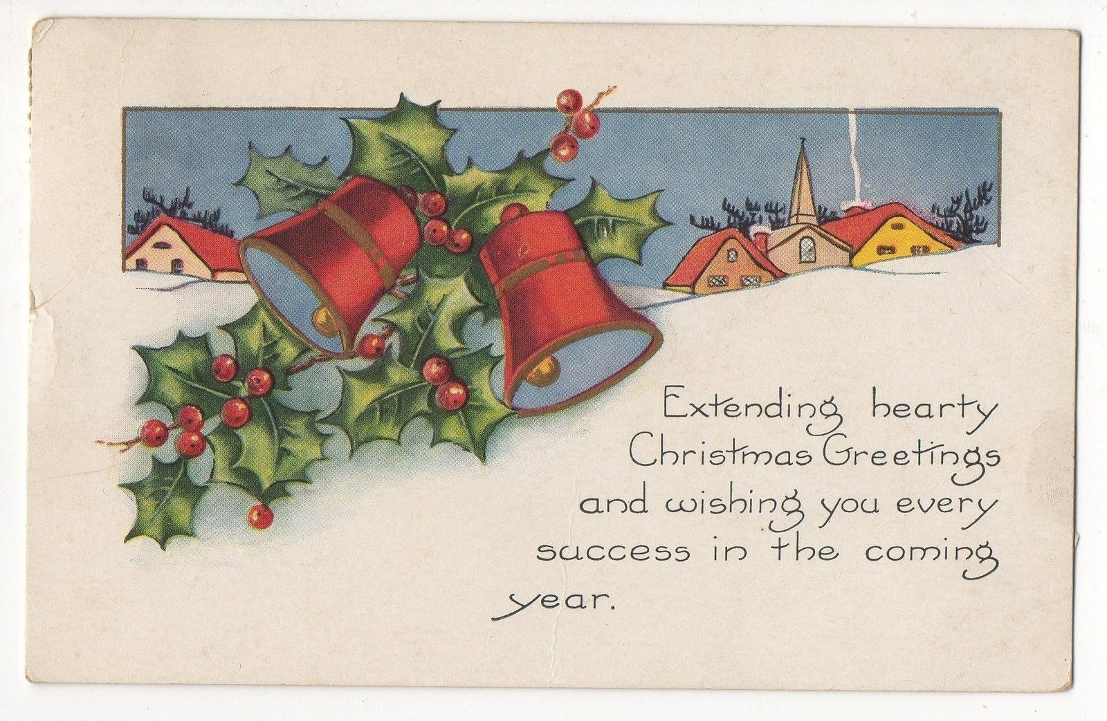Vintage Christmas Postcard Hearty Christmas Greetings with Bells Holly Snow | eBay
