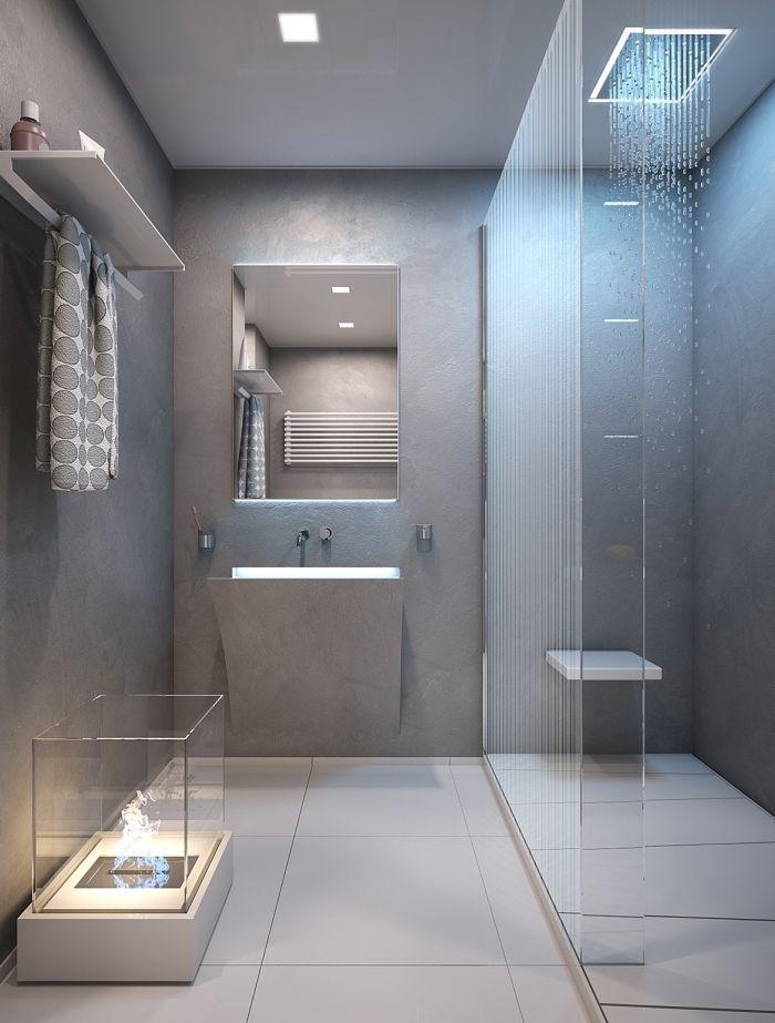 modèle salle de bain gris et blanc avec cabine de douche, exemple ...
