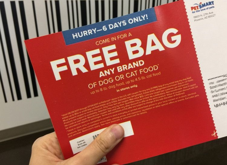 Here S A Petsmart Coupon For A Free Bag Of Dog Or Cat Food Free