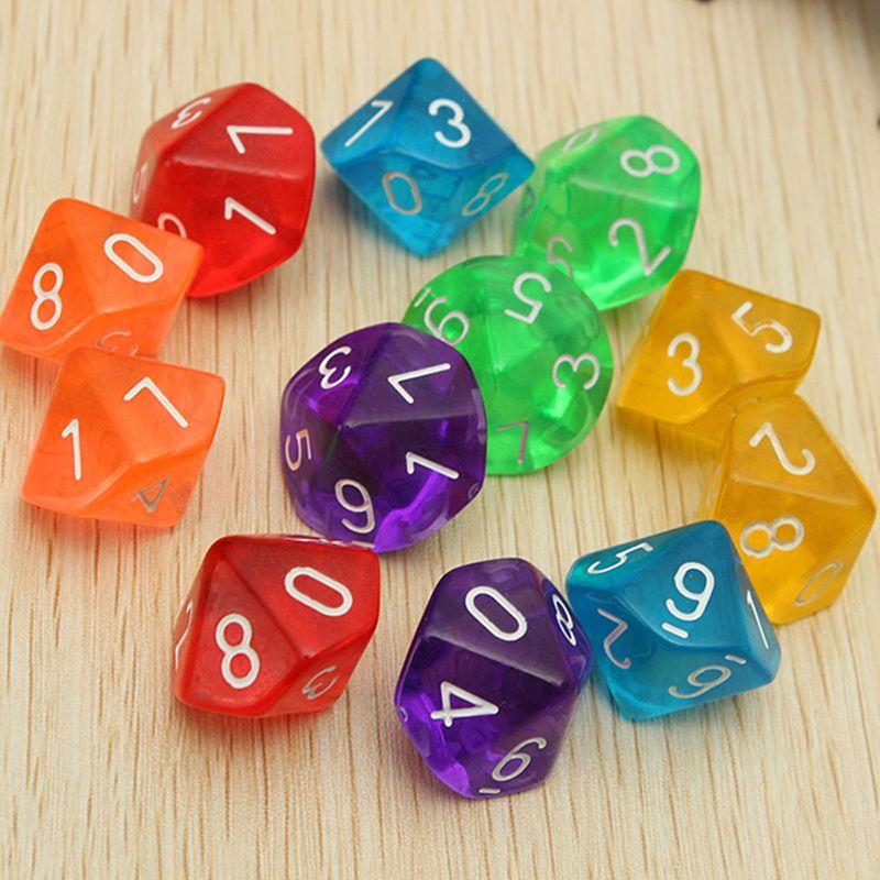 10pcs Transparent 10 Dice Die 10 Sided Gem Dice Set Multicolor D10 - dice resume