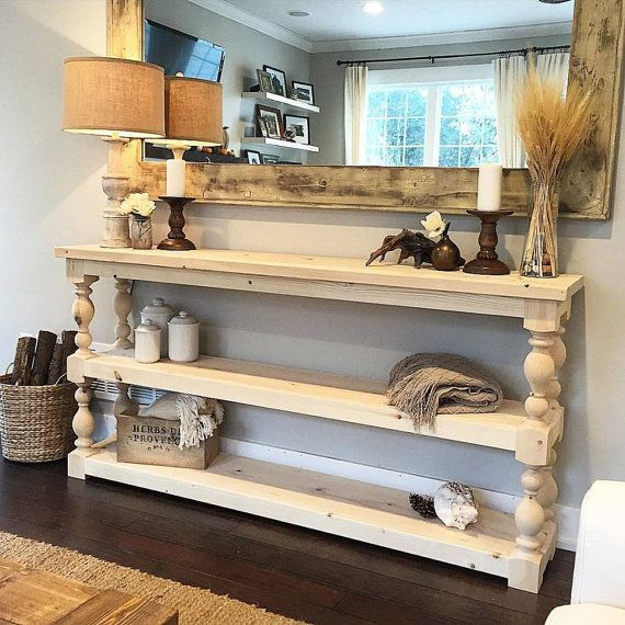 Extra Long Three Shelf French Country Console Buffet