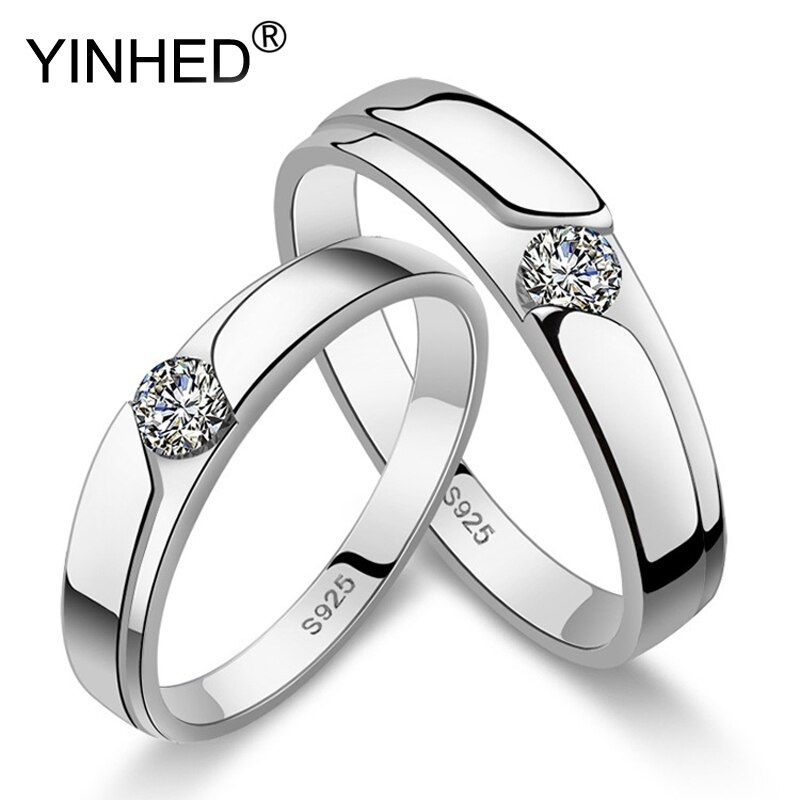 Yinhed Fashion Women And Men Open Couple Rings 2pcs 100 925 Sterling Silver Wedding In 2020 Engagement Rings Couple Sterling Silver Wedding Band Silver Wedding Bands