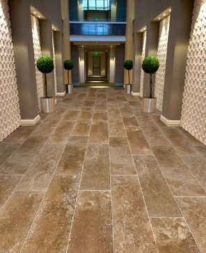 Large Format 12 X 26 Coco Travertine Tiles From Royal Stone Tile Contemporary Hall Flooring Travertine Tile Travertine Floors