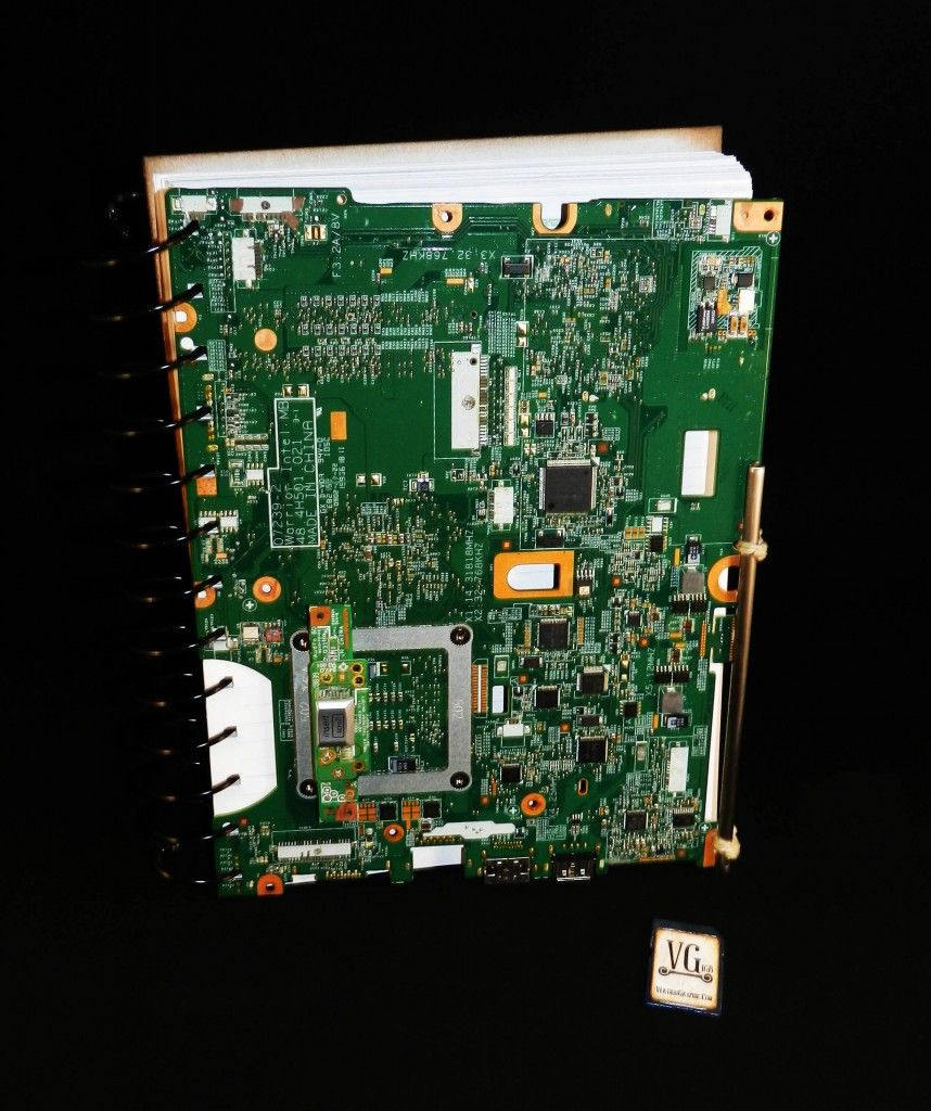 Upcycled Computer Motherboard Journal Crafts Pinterest Upcycle Picture Of Old Circuit Board Waste Art Computers Custom Tech