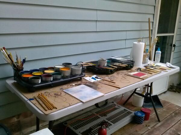 My encaustic studio setup outside. I dont have proper ventilation indoors.