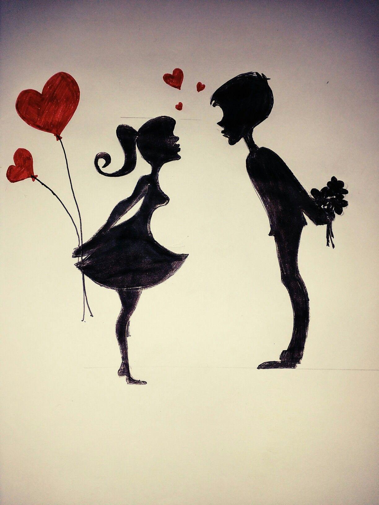Easy romantic cartoon drawing... | Easy cartoon drawings ...