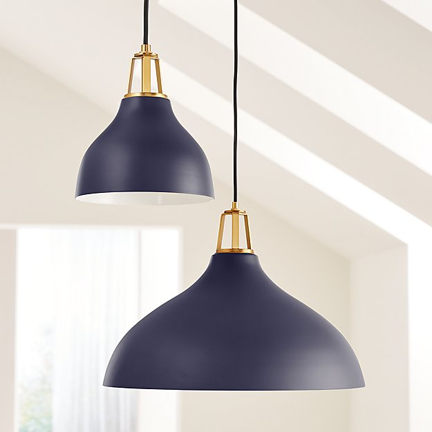Maddox Large Bell Pendant Light With Brass Socket Crate And