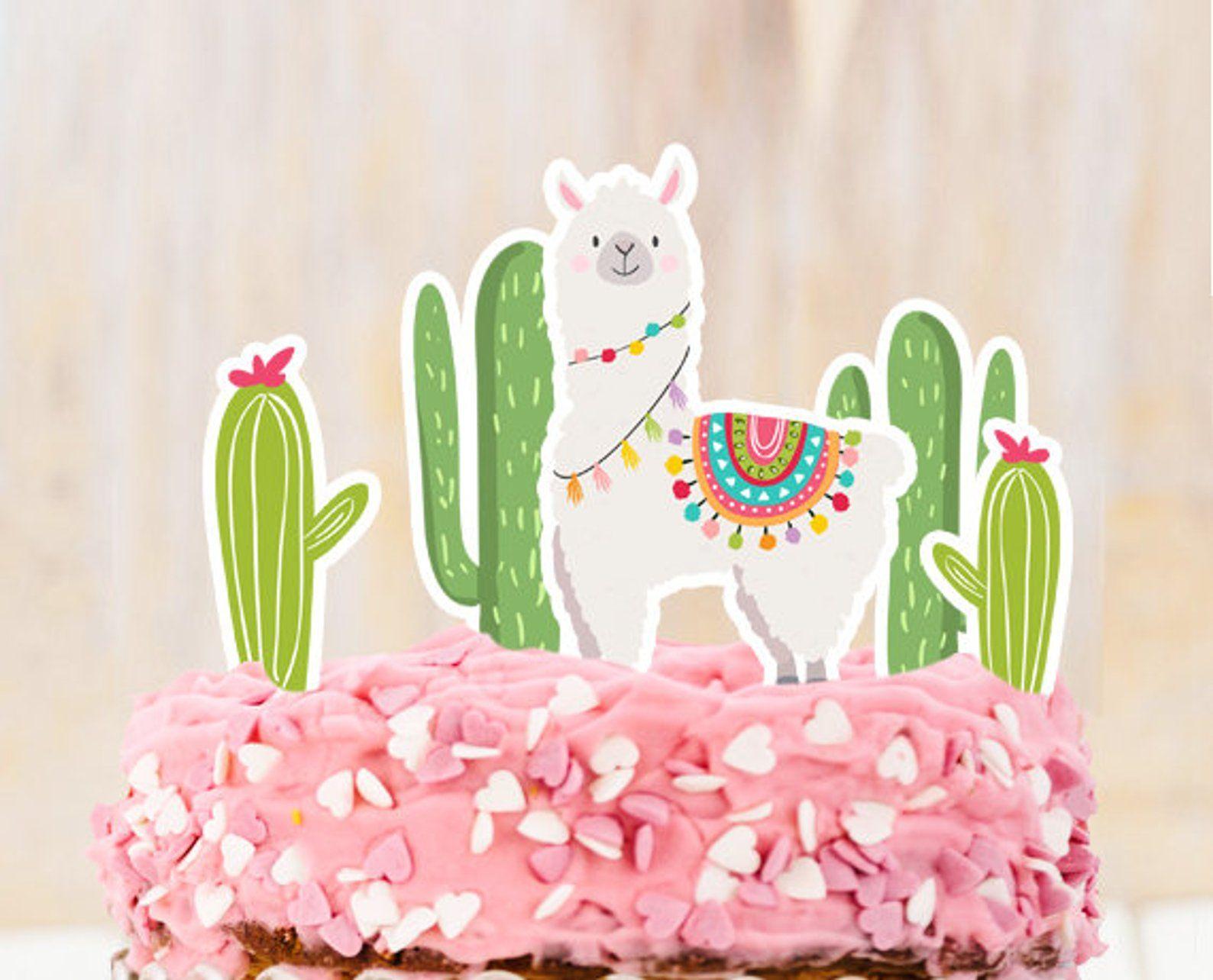 Llama cake topper llama birthday llama party decor fiesta