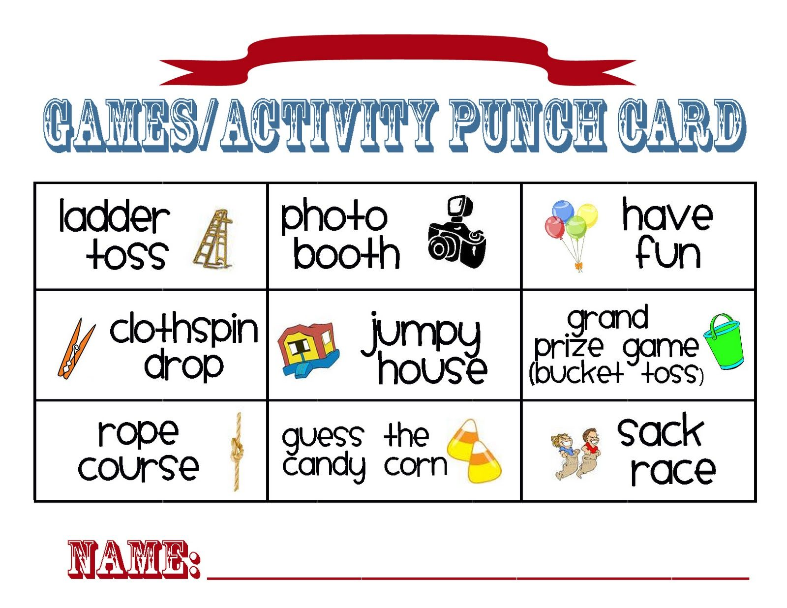 carnival punch card google search family fun night pinterest