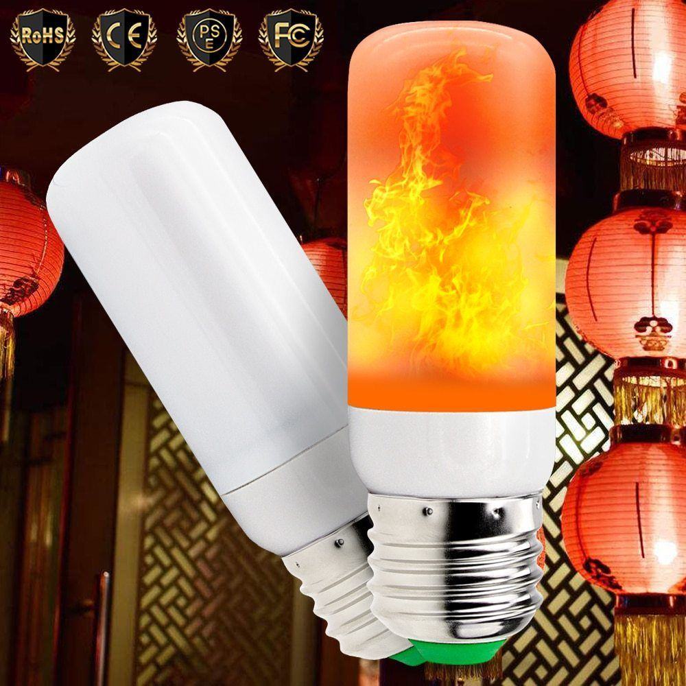 E27 Led Burn Light Flicker Flame Lamp Bulb Fire Gas Effect Xmas Christmas Decor Underbrand Garden Led Candle Lights Light Bulb Candle