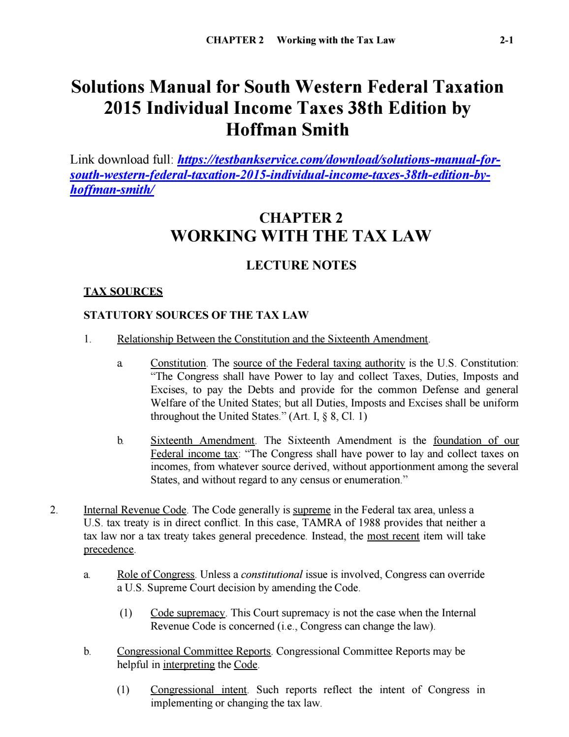 Solutions manual for south western federal taxation 2015 individual income  taxes 38th edition by hof