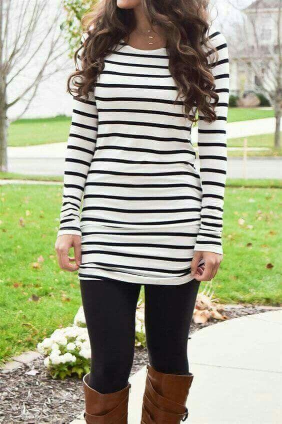 Black Striped Dress with Leggings