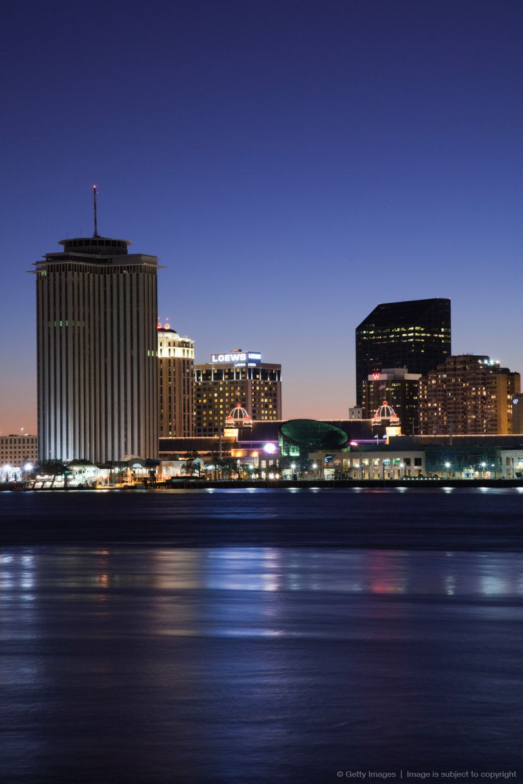 Buildings at the waterfront, Mississippi River, New Orleans, Louisiana.