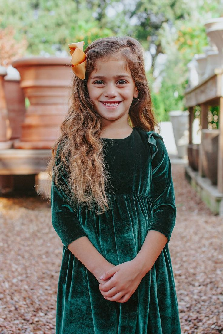 Girl's Green Velvet Flutter Sleeve Dress Girls christmas