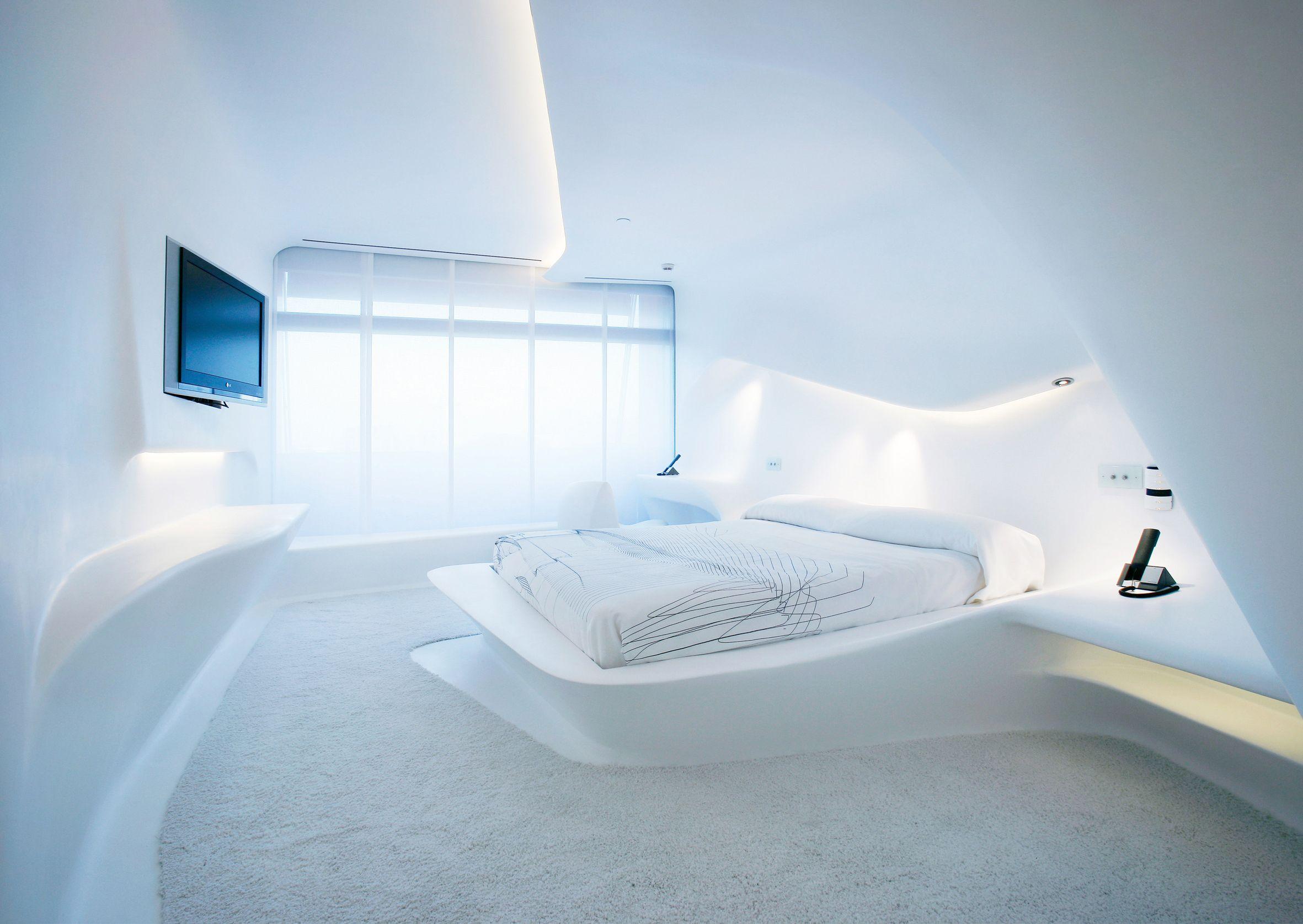 Pin de hoteles silken en madrid arquitectura dormitorio futurista y dormitorios Diseno interior futurista