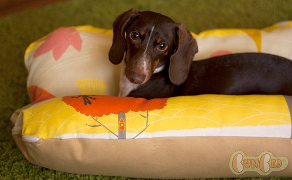 Trees Gold Yellow Orange Deluxe Bunbed Dog Bed For Dachshunds