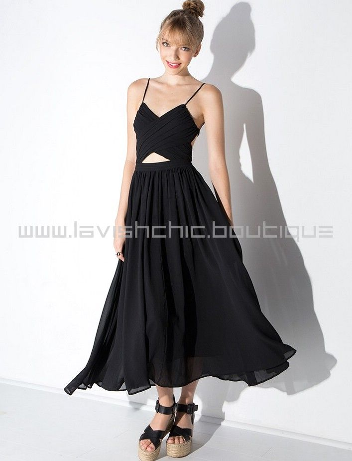99536dd266cff Pixie Market Black Wrap Lace Up Floaty Midi Dress - by LavishChic.boutique