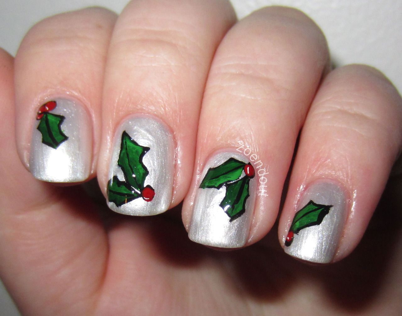 Holiday nails nails pinterest xmas nails top coat and nail can you tell i like holiday nails here are some mistletoe holly berry nails for this i used ciat angel wings as a base beca prinsesfo Image collections