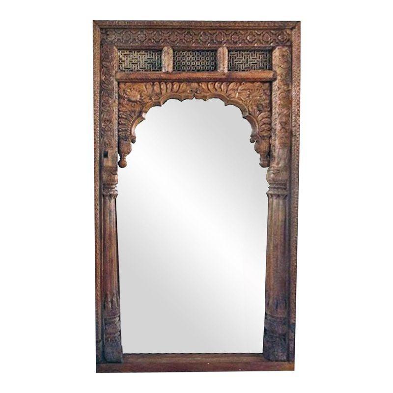 Antique doorway wooden mirror doorway decor wooden