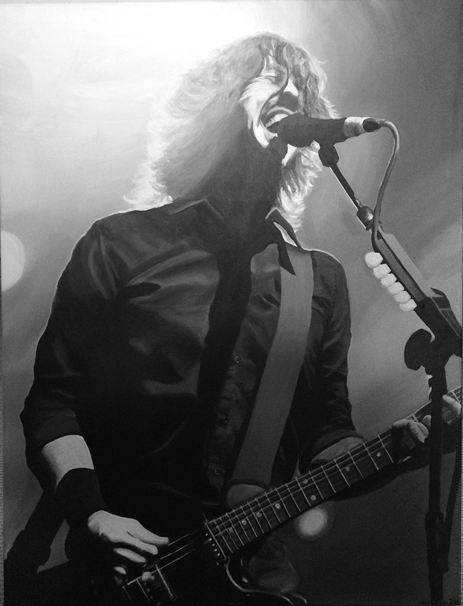 Dave grohl painting black and white rockstar series acrylic