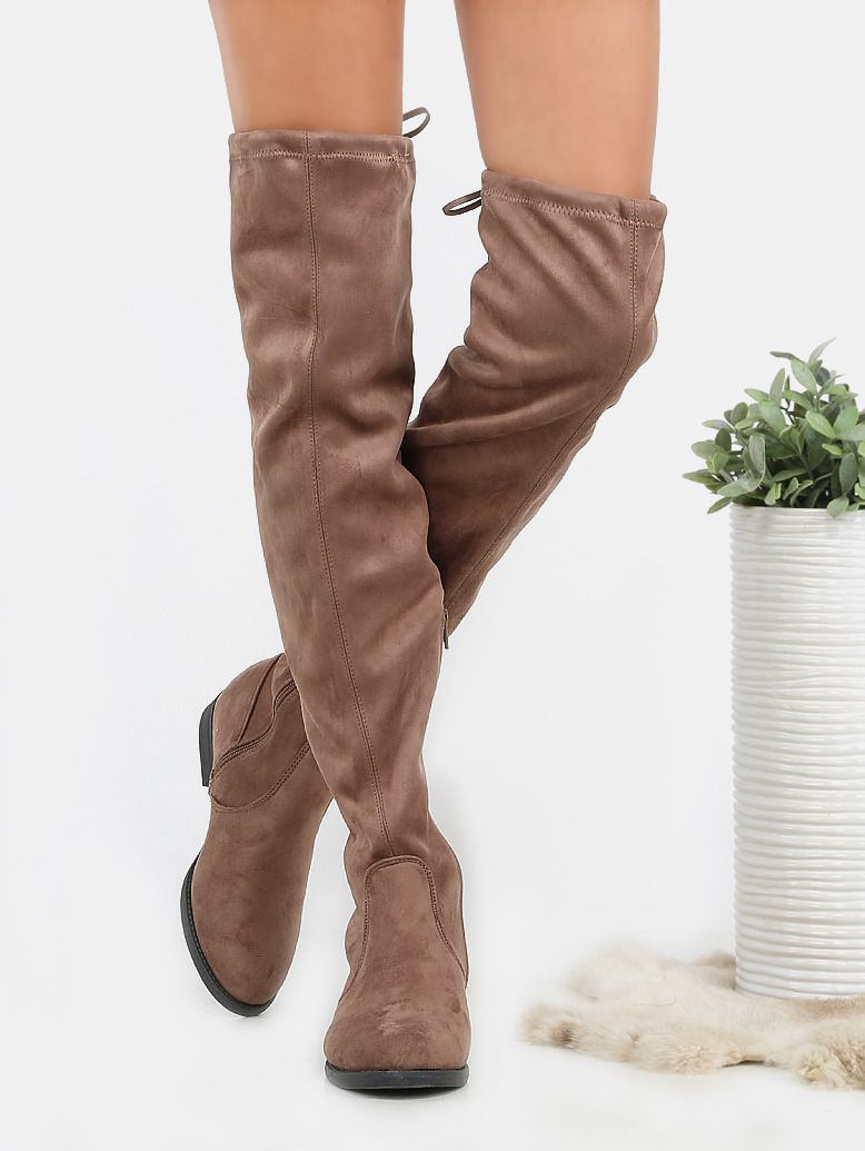 d94c4a1171c The Flat Tie Back Suede Thigh High Boots features a round toe