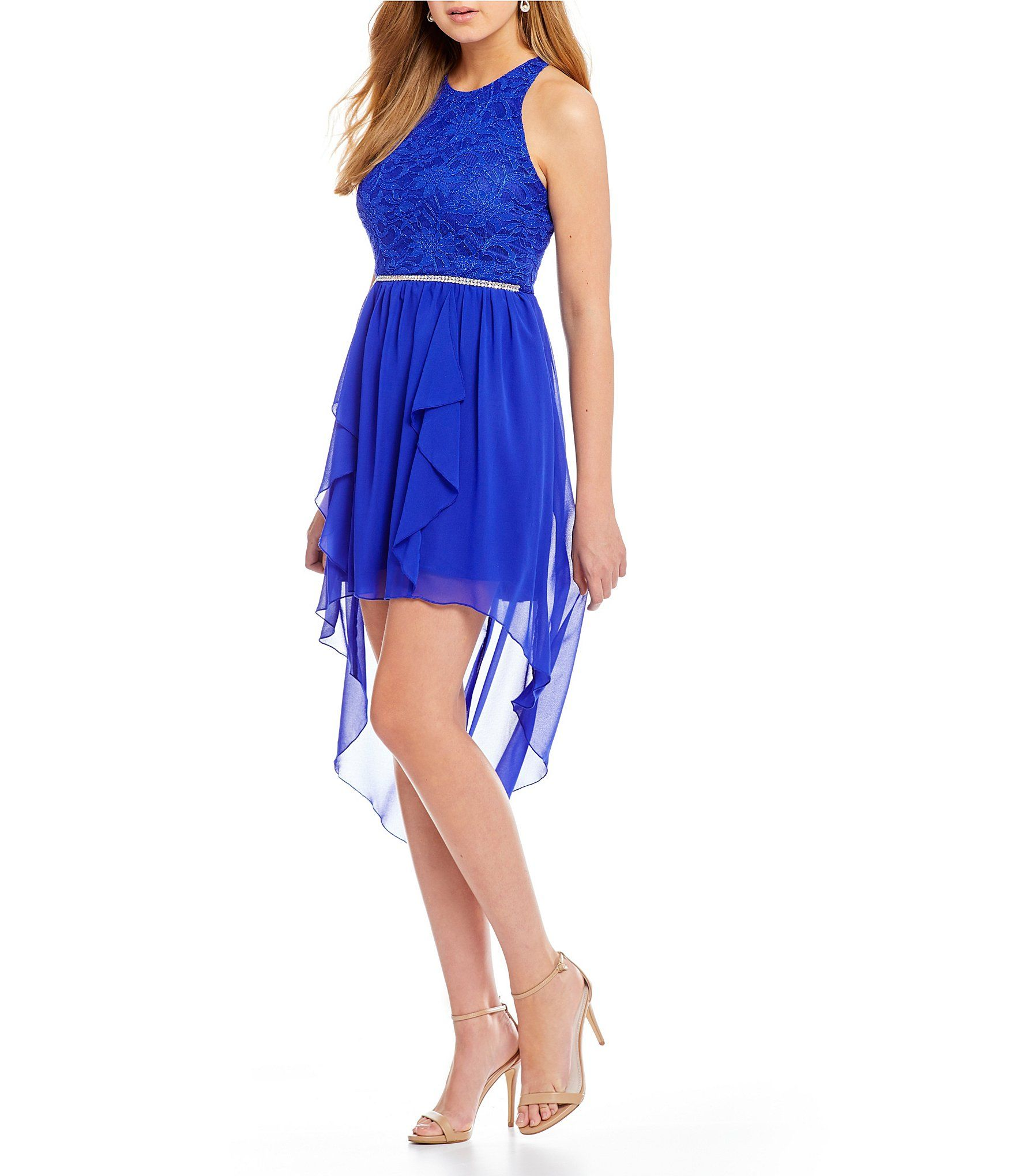 Shop for jodi kristopher lace bodice highlow dress at dillards