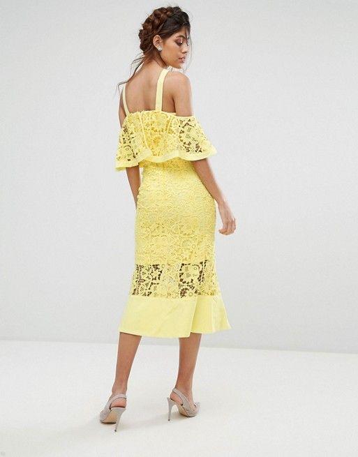 ef83734c1e8b Jarlo Frill Layer Cold Shoulder Lace Midi Dress