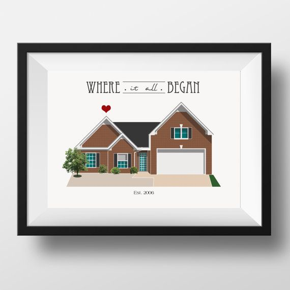 items similar to mothers day gift unique sketch of your home gift unique house warming gift custom home portrait personalised sketch on etsy - Unique House Gifts