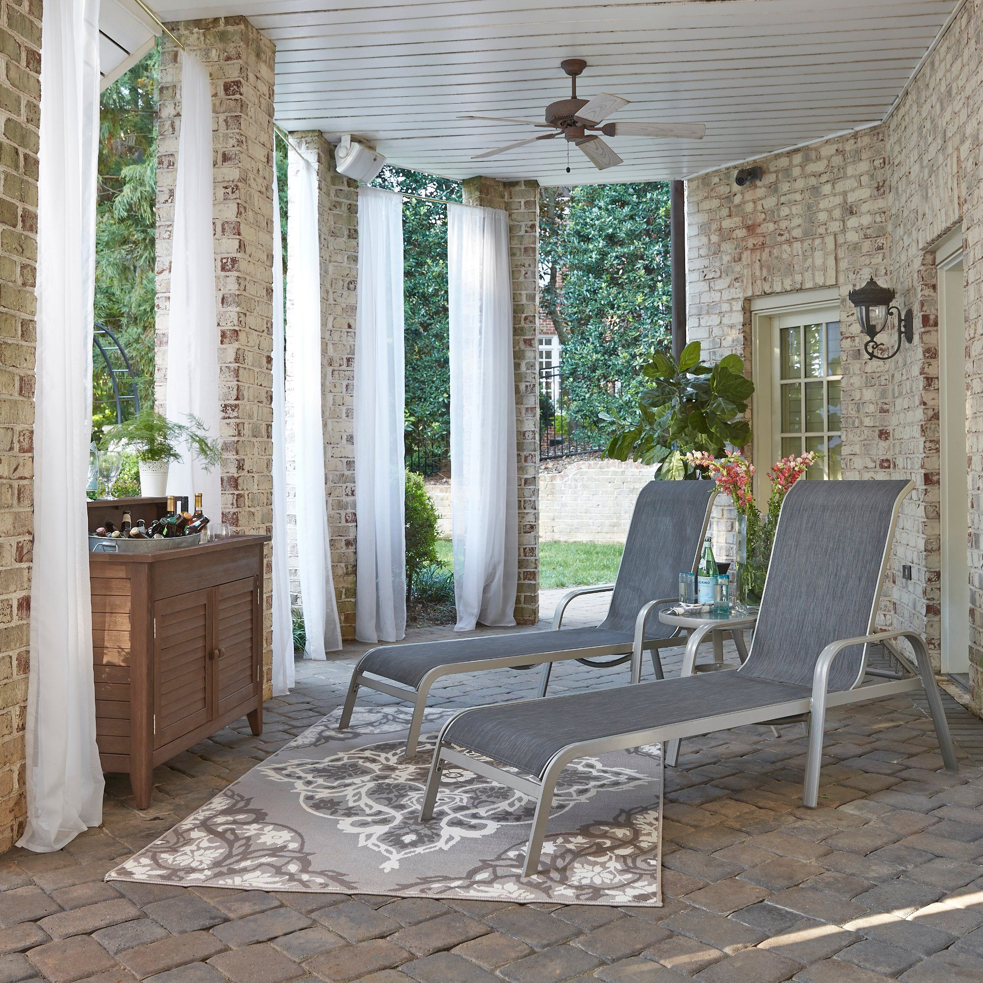 2 Sling Seat Chaise Lounge Chairs and Accent Table - South ... on Living Accents Sling Folding Chaise id=97686