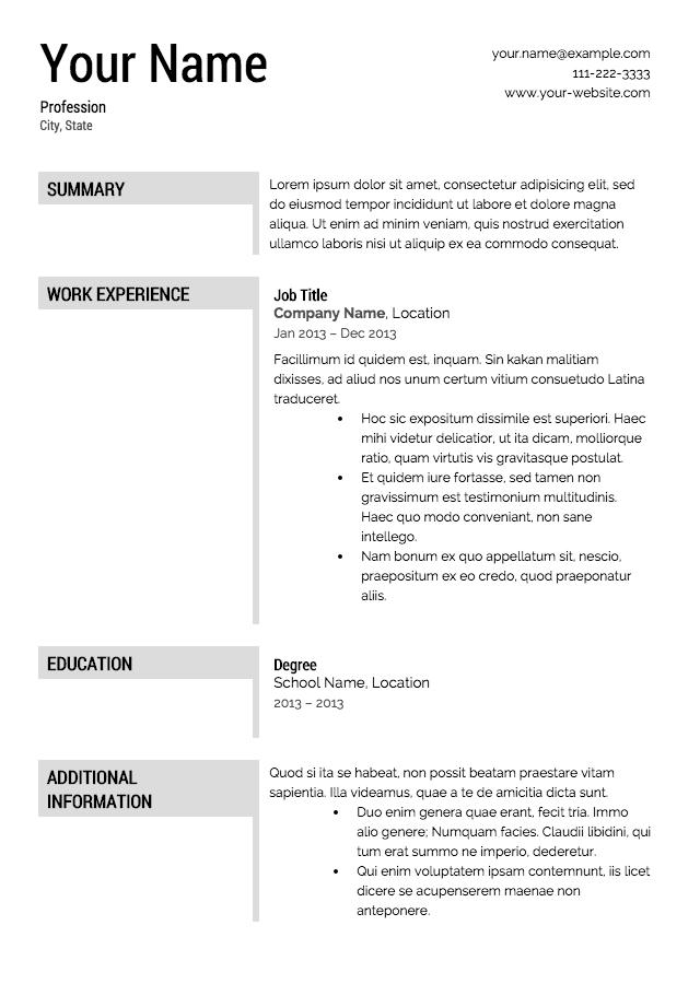 Download Free Resume Templates Printable