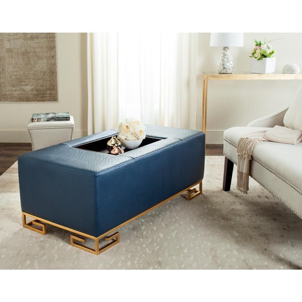 Terrific Safavieh Julian Faux Ostrich Navy Blue Tray Ottoman Ibusinesslaw Wood Chair Design Ideas Ibusinesslaworg