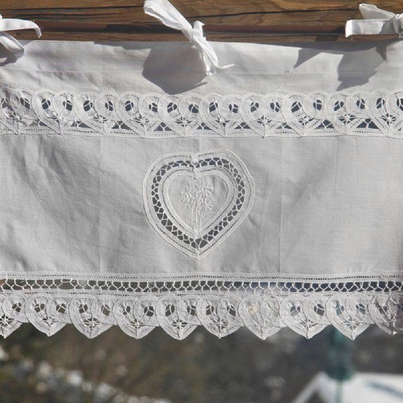rideau brise bise blanc lac 1 coeur et fleurs de montagne coton rideaux brise bise fleurs de. Black Bedroom Furniture Sets. Home Design Ideas