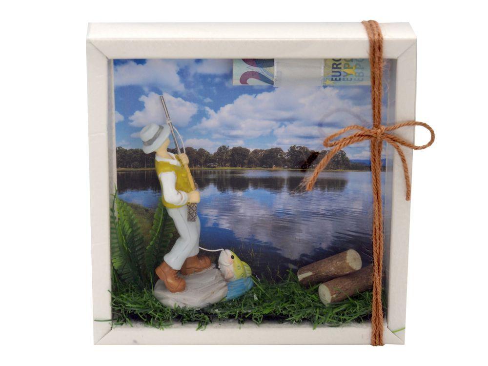 Geldgeschenk Verpackung Angler Quadrat Fischen Geschenke