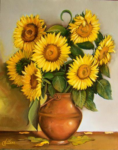 quadri_fiori_204_b Girasoles, Pinturas, Flores