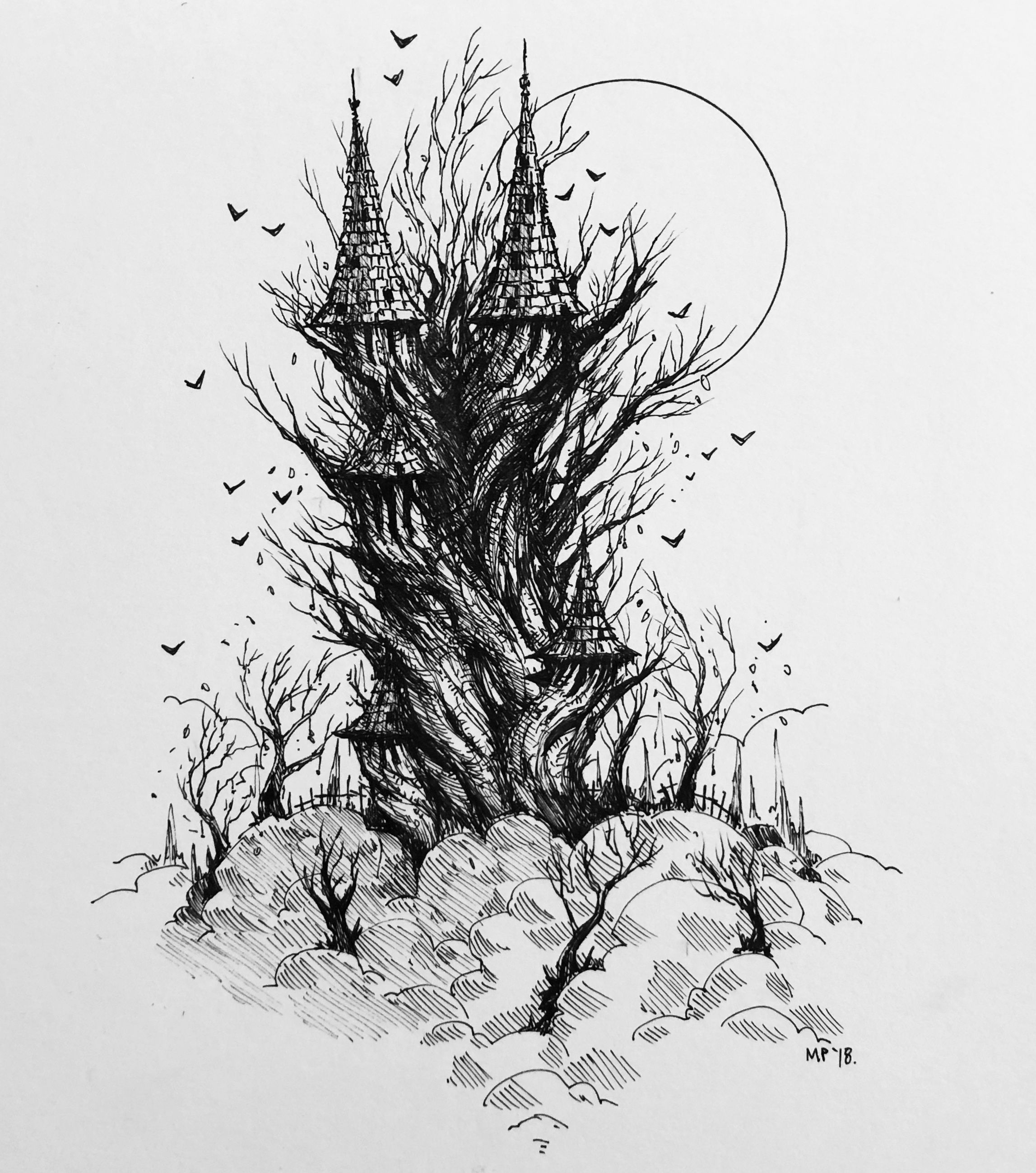 Pin by Ericka Pasco on Illustration Tree drawing, Scary
