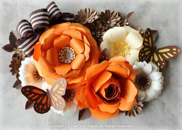 $Fleurs de Papier ~クラフトパンチや花紙で作る立体のお花いろいろ~-クラフトパンチのバラ(ペーパーフラワー/紙の花)